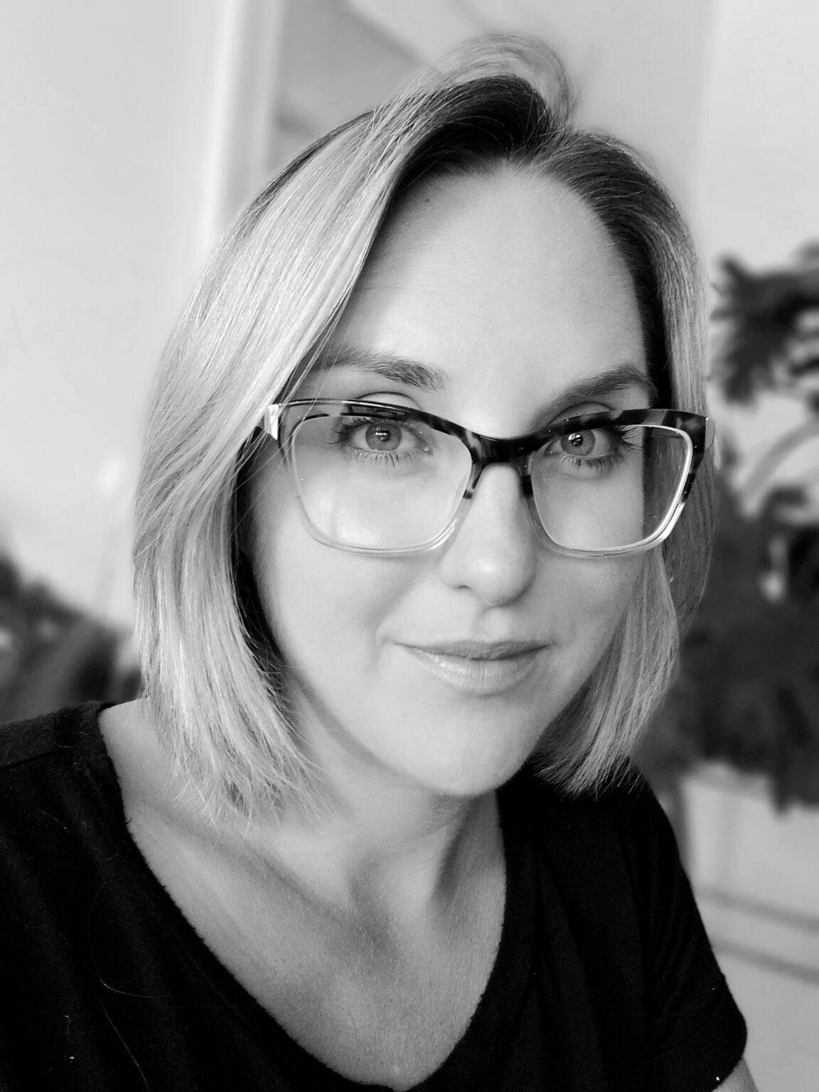 Monika Arychuk Profile Black and white photo